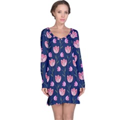 Watercolour Flower Pattern Long Sleeve Nightdress