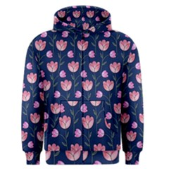 Watercolour Flower Pattern Men s Zipper Hoodie
