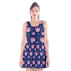 Watercolour Flower Pattern Scoop Neck Skater Dress