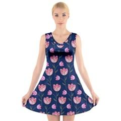Watercolour Flower Pattern V Neck Sleeveless Skater Dress