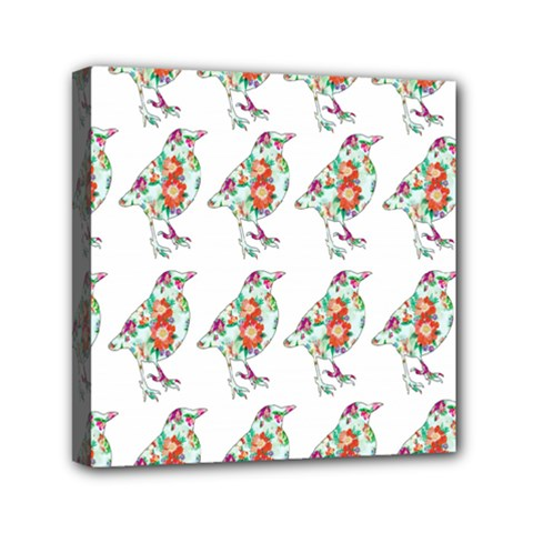 Floral Birds Wallpaper Pattern On White Background Mini Canvas 6  x 6