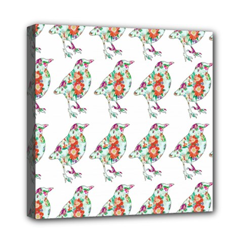 Floral Birds Wallpaper Pattern On White Background Mini Canvas 8  x 8