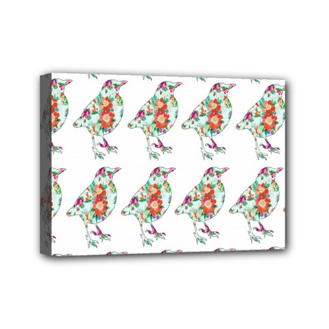 Floral Birds Wallpaper Pattern On White Background Mini Canvas 7  X 5