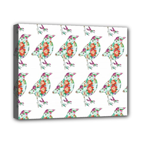 Floral Birds Wallpaper Pattern On White Background Canvas 10  x 8