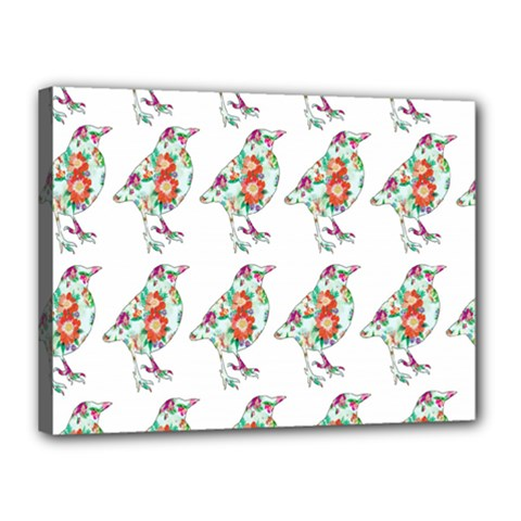 Floral Birds Wallpaper Pattern On White Background Canvas 16  x 12