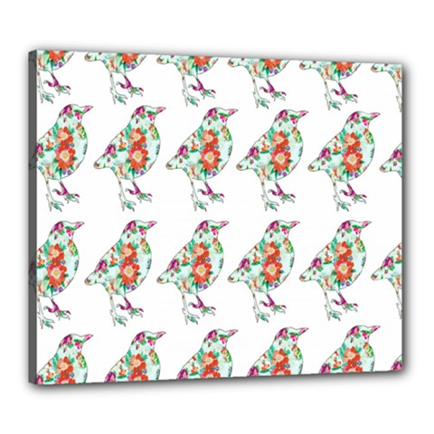 Floral Birds Wallpaper Pattern On White Background Canvas 24  x 20