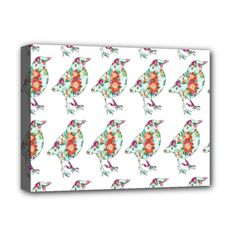 Floral Birds Wallpaper Pattern On White Background Deluxe Canvas 16  X 12