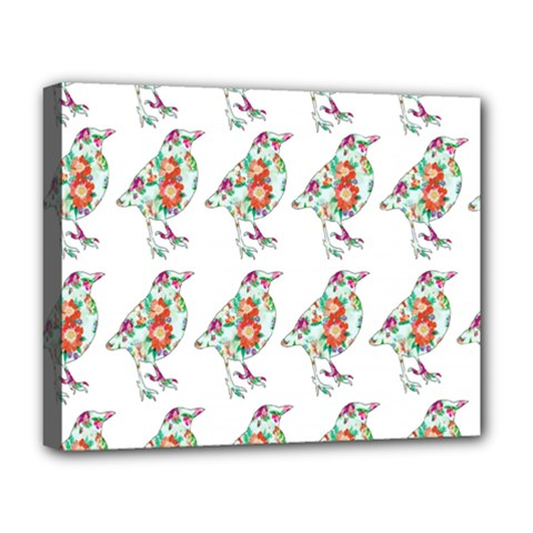 Floral Birds Wallpaper Pattern On White Background Deluxe Canvas 20  X 16