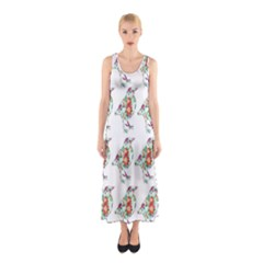 Floral Birds Wallpaper Pattern On White Background Sleeveless Maxi Dress