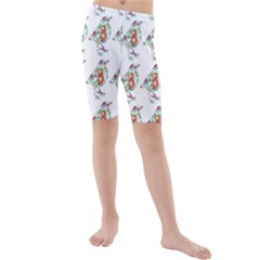 Floral Birds Wallpaper Pattern On White Background Kids  Mid Length Swim Shorts