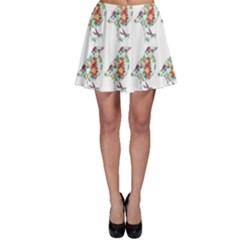Floral Birds Wallpaper Pattern On White Background Skater Skirt