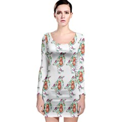 Floral Birds Wallpaper Pattern On White Background Long Sleeve Bodycon Dress
