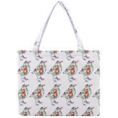 Floral Birds Wallpaper Pattern On White Background Mini Tote Bag