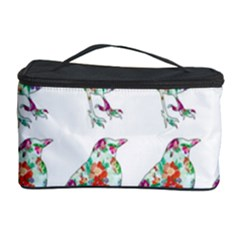 Floral Birds Wallpaper Pattern On White Background Cosmetic Storage Case