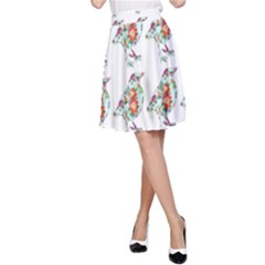 Floral Birds Wallpaper Pattern On White Background A-Line Skirt
