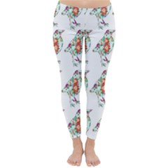 Floral Birds Wallpaper Pattern On White Background Classic Winter Leggings