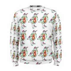 Floral Birds Wallpaper Pattern On White Background Men s Sweatshirt