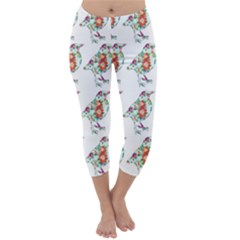 Floral Birds Wallpaper Pattern On White Background Capri Winter Leggings