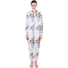 Floral Birds Wallpaper Pattern On White Background Hooded Jumpsuit (ladies)