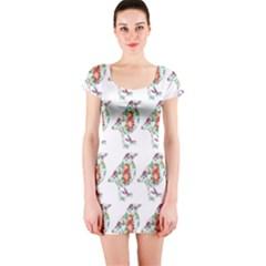 Floral Birds Wallpaper Pattern On White Background Short Sleeve Bodycon Dress