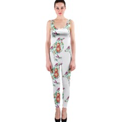 Floral Birds Wallpaper Pattern On White Background OnePiece Catsuit