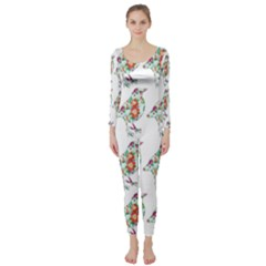 Floral Birds Wallpaper Pattern On White Background Long Sleeve Catsuit