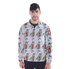 Floral Birds Wallpaper Pattern On White Background Wind Breaker (men)