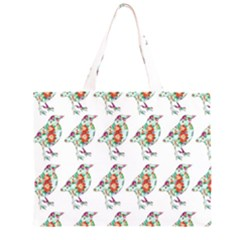 Floral Birds Wallpaper Pattern On White Background Large Tote Bag