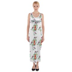 Floral Birds Wallpaper Pattern On White Background Fitted Maxi Dress