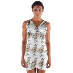 Floral Birds Wallpaper Pattern On White Background Wrap Front Bodycon Dress
