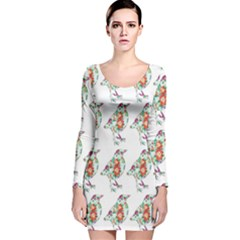 Floral Birds Wallpaper Pattern On White Background Long Sleeve Velvet Bodycon Dress