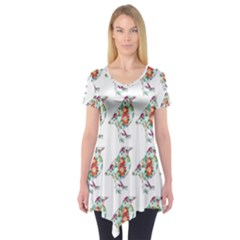 Floral Birds Wallpaper Pattern On White Background Short Sleeve Tunic