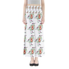 Floral Birds Wallpaper Pattern On White Background Maxi Skirts