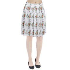 Floral Birds Wallpaper Pattern On White Background Pleated Skirt