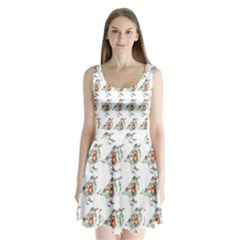 Floral Birds Wallpaper Pattern On White Background Split Back Mini Dress