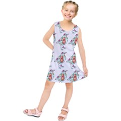 Floral Birds Wallpaper Pattern On White Background Kids  Tunic Dress