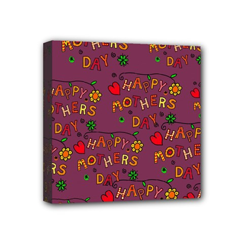 Happy Mothers Day Text Tiling Pattern Mini Canvas 4  x 4