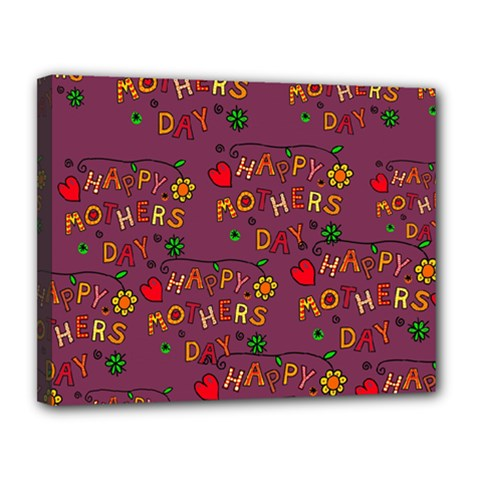 Happy Mothers Day Text Tiling Pattern Canvas 14  x 11