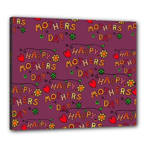 Happy Mothers Day Text Tiling Pattern Canvas 24  x 20