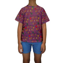Happy Mothers Day Text Tiling Pattern Kids  Short Sleeve Swimwear