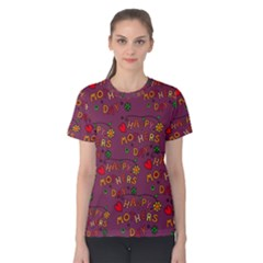 Happy Mothers Day Text Tiling Pattern Women s Cotton Tee
