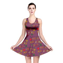 Happy Mothers Day Text Tiling Pattern Reversible Skater Dress