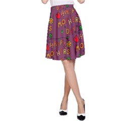 Happy Mothers Day Text Tiling Pattern A-Line Skirt