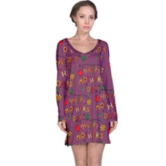 Happy Mothers Day Text Tiling Pattern Long Sleeve Nightdress