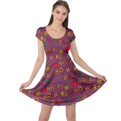 Happy Mothers Day Text Tiling Pattern Cap Sleeve Dresses