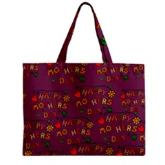 Happy Mothers Day Text Tiling Pattern Zipper Mini Tote Bag