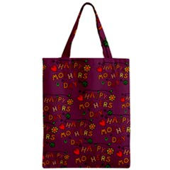 Happy Mothers Day Text Tiling Pattern Zipper Classic Tote Bag
