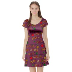 Happy Mothers Day Text Tiling Pattern Short Sleeve Skater Dress