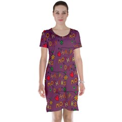 Happy Mothers Day Text Tiling Pattern Short Sleeve Nightdress