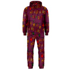 Happy Mothers Day Text Tiling Pattern Hooded Jumpsuit (men)